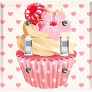 Metal Light Switch Cover Wall Plate For Bedroom Cupcake Heart Pink Cak030
