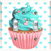 Metal Light Switch Cover Wall Plate For Bedroom Cupcake Heart Teal Cak031