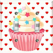 Metal Light Switch Cover Wall Plate For Bedroom Cupcake Heart Pink Cak032