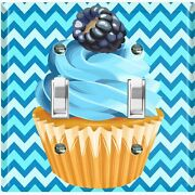Metal Light Switch Cover Wall Plate For Bedroom Cupcake Chevron Baby Blue Cak033