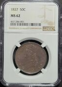 1837 Capped Bust Half Dollar Reeded Edge Ngc Certified Graded Ms62 - 90 Silver