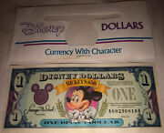 1993 1 One Disney Dollar Mickey Mouse 65th Anniversary Note Uncirculated