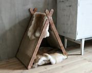 Cat House Wooden Decor Gifts For Cat Cave Bed Pet Pillow
