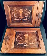 """2 Antique Inlaid Marquetry Cabinet Doors Key Hole And Original Hardware 16"""" X 12"""""""