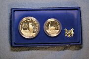 1986-s Us Mint Liberty Proof Two Coin Set, Silver Dollar,clad 50c W/ 3 Shipping
