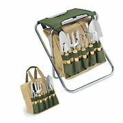 Picnic Time 5-piece Garden Tool Set W/ Removable Tote And Folding Seat