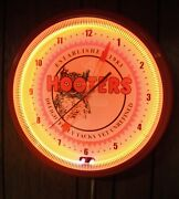 Hooters Rare Orange Neon Working Clock With Retro Owl Logo Display Only