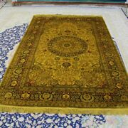 Yilong 5and039x8and039 Golden Handmade Silk Area Rug Antique Oriental Carpets 091b