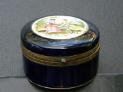 Antique Limoges Unmarked Hinged Round Trinket Box Cobalt And Gold