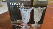 Vintage Towle 2 Pc 24 Lead Crystal Hurricane Candle Lamp Pair
