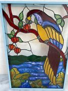 Vintage Stained Glass Picture Framed Parrot With Pomegranates 18x24 Free Pickup