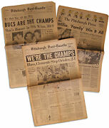 Lot Of 3 Pittsburgh Pirates World Series Win Newspapers