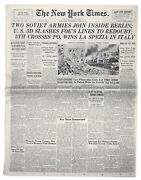 ''new York Times'' Newspaper From Elbe Day 25 April 1945