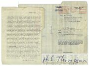 Hunter Thompson Letter Signed Re Losing His Mind