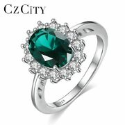 Czcity Princess Diana William Gemstone Rings For Kate Sapphire Emerald Ruby