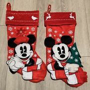 Set Of 2 Disney Park 3d Mickey And Minnie Mouse Christmas Stocking 20 Snowflakes