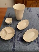 Lenox Ivory Cream Vase, Candle Holder And Candy Dishes- Group Of 6