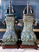 Pair Of Antique Bronze Chinese Lamps