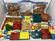 Lincoln Logs 150++ Pieces Wooden Roofs Windows Figures Flags Signs