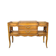 Vintage French Country Fruitwood 2 Drawer Console/sofa Table W/ Copper Planters