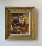Rose Frantzen Oil Painting Rooster And Turkey Farm And Country Roosters Vtg