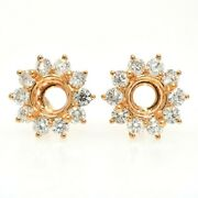 Floral Round 6mm Stud Earring Semi Mount In 18k Yellow Gold With Diamond 32505