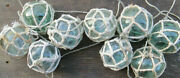 Japanese Glass Fishing Floats 3-3.5 Netted Lot-9 Netwhite Maritime Relics