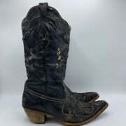 Corral Vintage Cowgirl Boots Black Distressed Lizard Inlay C2108 Womens 7.5 M