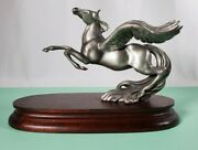 Vtg Chilmack Fine Pewter Pegasus Winged Horse Signed By R Sylvan 9andrdquo Statue