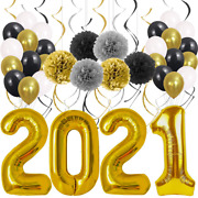 New Years Eve Party Supplies 2021 Decorations Kit, Gold White And Black Balloons