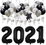 Meiduo Black Graduation 2021 Party Decorations New Years Eve Party Supplies, Han