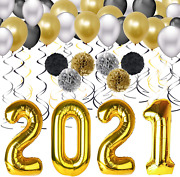 2021 Ballons For New Years Eve Party Supplies 2021 Decorations Kit-40 Inch , Bla
