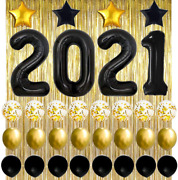 New Years Eve Party Supplies 2021 Decorations Kit, Black 2021 Balloons, Black An