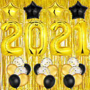New Years Eve Party Supplies 2021 Decorations Kit, 40 Inch 2021 Foil Number Ball