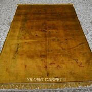 Yilong 5and039x7and039 Handwoven Silk Area Rug Vintage Golden Antistatic Carpet 160ab