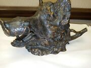 Rare Bronze Boar Head Inkwell Sculpture Statue By Christophe Fratin C.1850