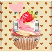 Metal Light Switch Cover Wall Plate For Kitchen Cupcake Strawberry Hearts Cak034