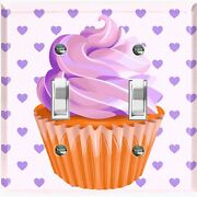 Metal Light Switch Cover Wall Plate For Kitchen Cupcake Hearts Purple Cak035