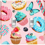 Metal Light Switch Cover Wall Plate For Kitchen Donut Cupcake Sweet Pink Cak041