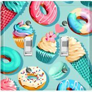 Metal Light Switch Cover Wall Plate For Kitchen Donut Cupcake Sweet Teal Cak042