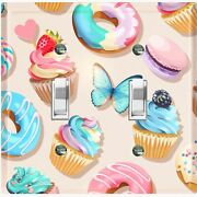 Metal Light Switch Cover Wall Plate For Kitchen Donut Cupcake Sweet Beige Cak043