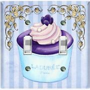 Metal Light Switch Cover Wall Plate For Kitchen Cupcake Blue Purple Fancy Cak051