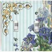 Metal Light Switch Cover Wall Plate For Blue Flowers Baby Blue Stripe Flw069