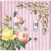 Metal Light Switch Cover Wall Plate For Pink Yellow Flowers Stripe Frame Flw070