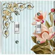 Metal Light Switch Cover Wall Plate For Pink White Flowers Stripe Frame Flw071