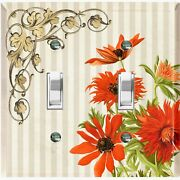 Metal Light Switch Cover Wall Plate For Red Flowers Beige Stripe Frame Flw072