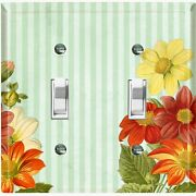 Metal Light Switch Cover Wall Plate For Colorful Flowers Green Stripe Flw073