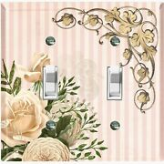 Metal Light Switch Cover Wall Plate For Beige Flowers Stripe Flw074