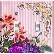 Metal Light Switch Cover Wall Plate For Colorful Flowers Pink Stripe Flw075