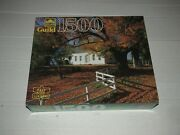 Vintage Golden Guild A Fall Day 1500 Jigsaw Puzzle 27 X 33 Autumn House Leaves